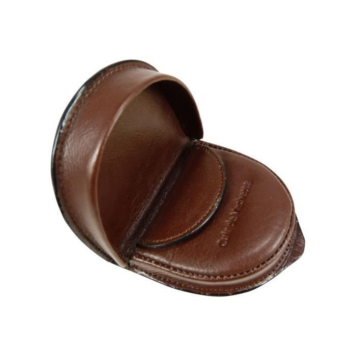 Porte monnaie cuvette pour homme en cuir de vac marron for Porte monnaie