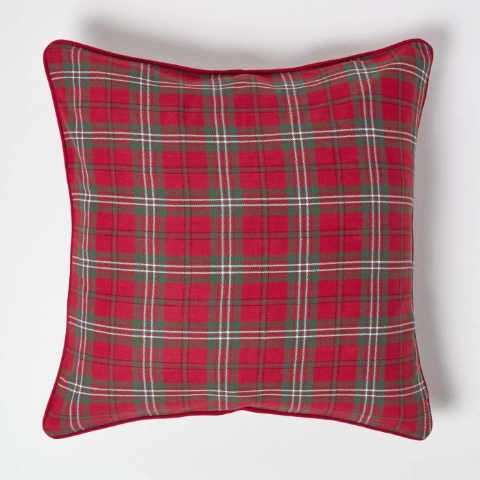 Coussin d houssable carreaux tartan rouge 45 x 45 cm - Housse de couette tartan ...