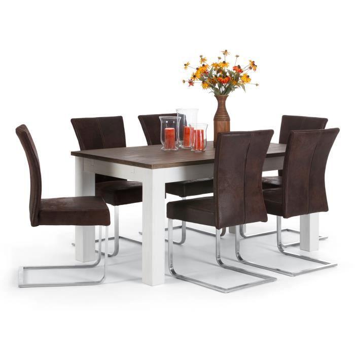 Table 160x90cm et 6 chaises cocona en acacia massivum for Dimensions set de table