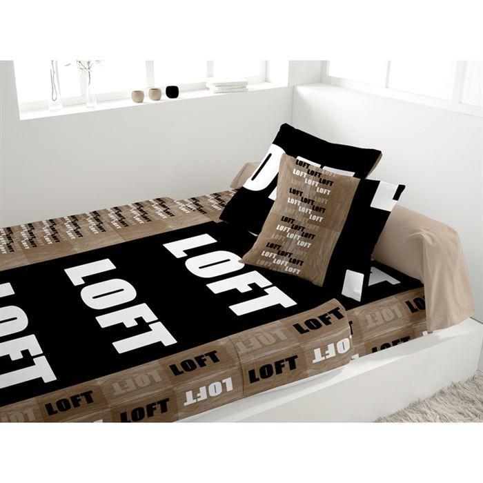 parure de lit loft noir achat vente parure de lit cdiscount. Black Bedroom Furniture Sets. Home Design Ideas