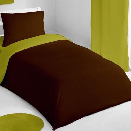housse de couette et taie d 39 oreiller bicolore achat vente parure de couette cdiscount. Black Bedroom Furniture Sets. Home Design Ideas