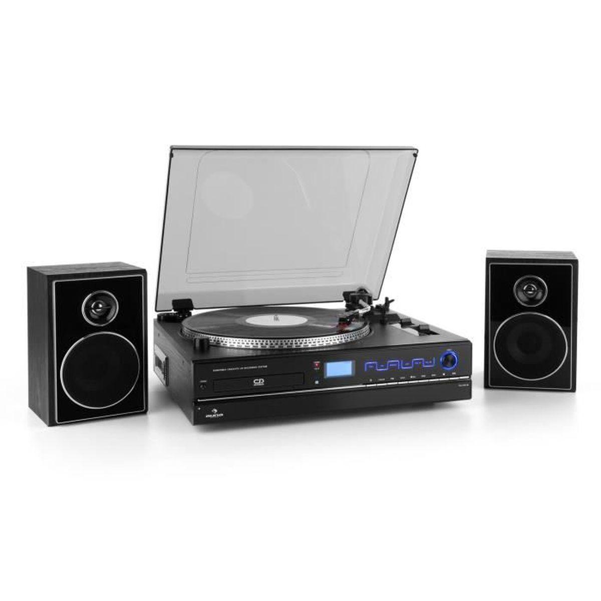 auna tcrd 993c tourne disque 33 45 u min graveur cd mc radio haut parleur chaine hi fi avis. Black Bedroom Furniture Sets. Home Design Ideas