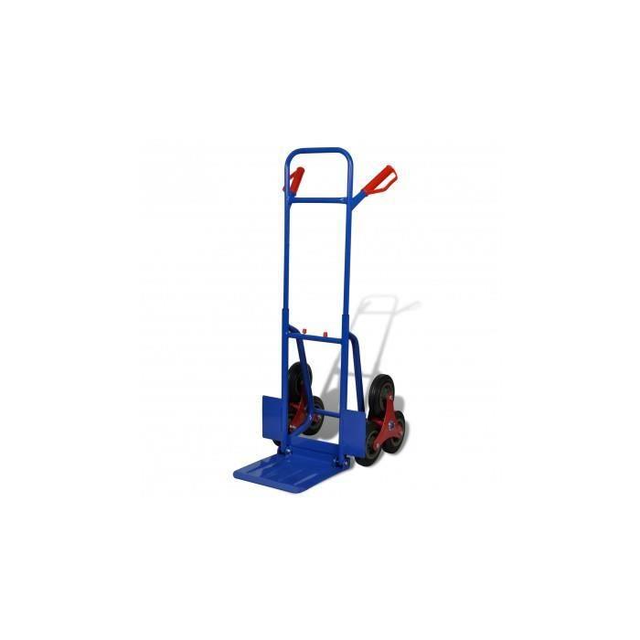 diable monte escalier 6 roues rouge et bleu 200kg achat. Black Bedroom Furniture Sets. Home Design Ideas