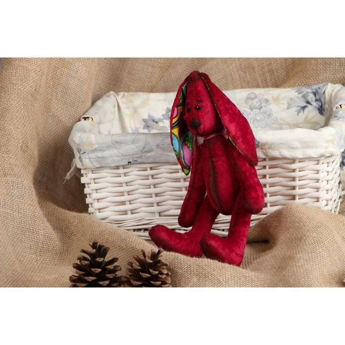 Lapin en peluche original fait main jouet mou rouge - Objet decoratif original ...