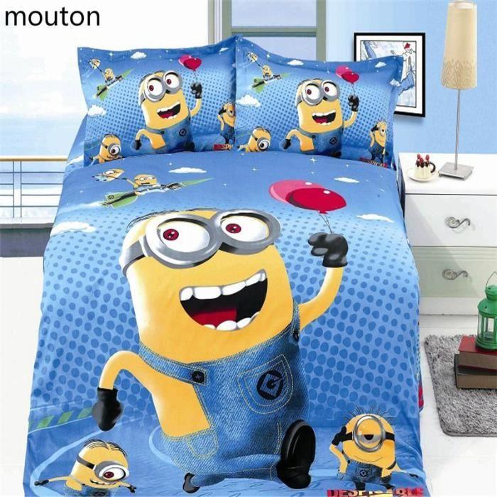 parure de lit minions coton 155 205cm 4 pieces achat vente housse de couette cdiscount. Black Bedroom Furniture Sets. Home Design Ideas