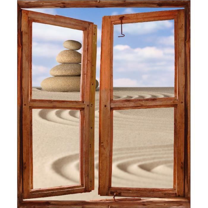 Sticker mural fen tre trompe l oeil d co galets sur sable for Vendeur fenetre