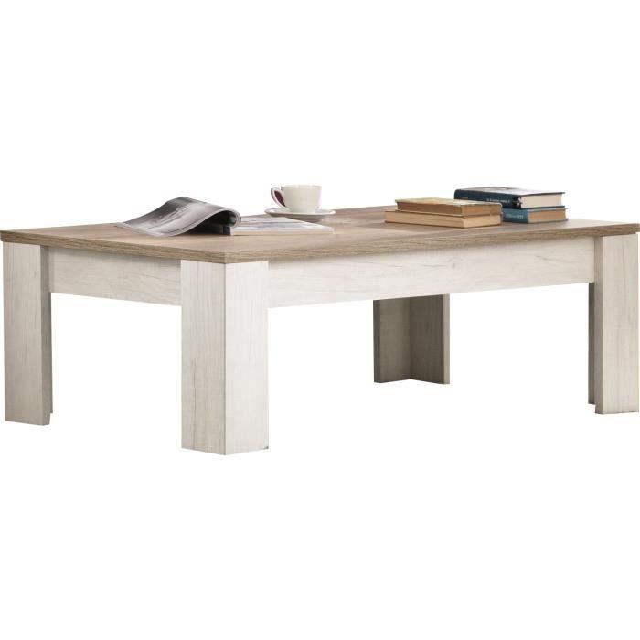 Table basse rectangulaire contemporaine 126 cm coloris for Table basse 85 cm