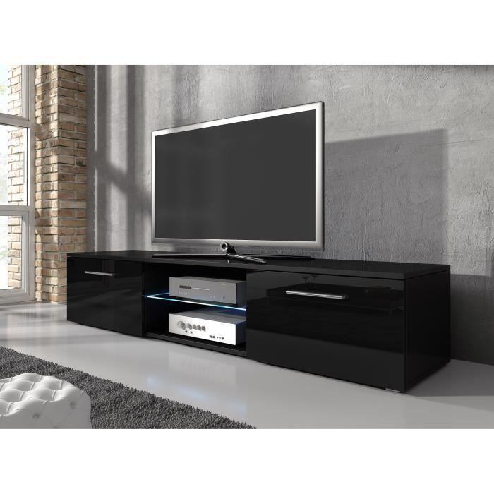 Meuble tv samuel noir 160cm achat vente meuble tv for Finlandek meuble tv mural katso 160 cm coloris blanc et noir