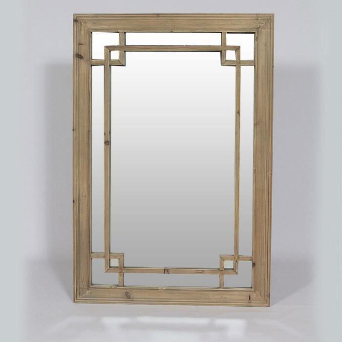miroir authentiq en bois naturel bois achat vente miroir cdiscount. Black Bedroom Furniture Sets. Home Design Ideas