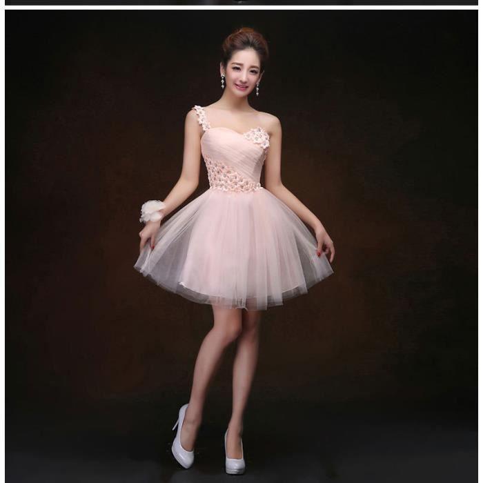 Rose en mousseline de soie d 39 une seule paule robe de - Taches d une vendeuse en pret a porter ...