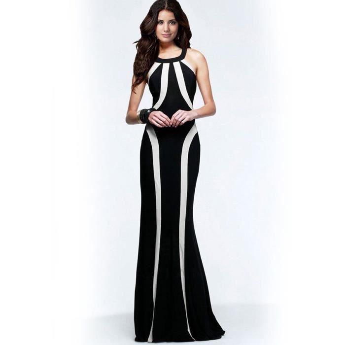 robe longue demoiselle d 39 honneur mariage party noir achat vente robe de c r monie. Black Bedroom Furniture Sets. Home Design Ideas