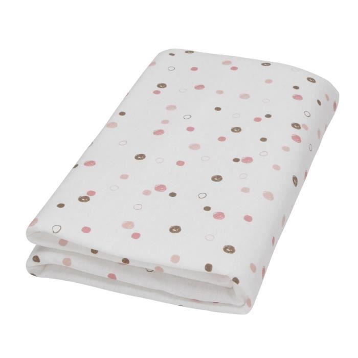 Domiva drap housse blanc imprim fany pois rose 60 x 120 Drap housse 160x200 rose