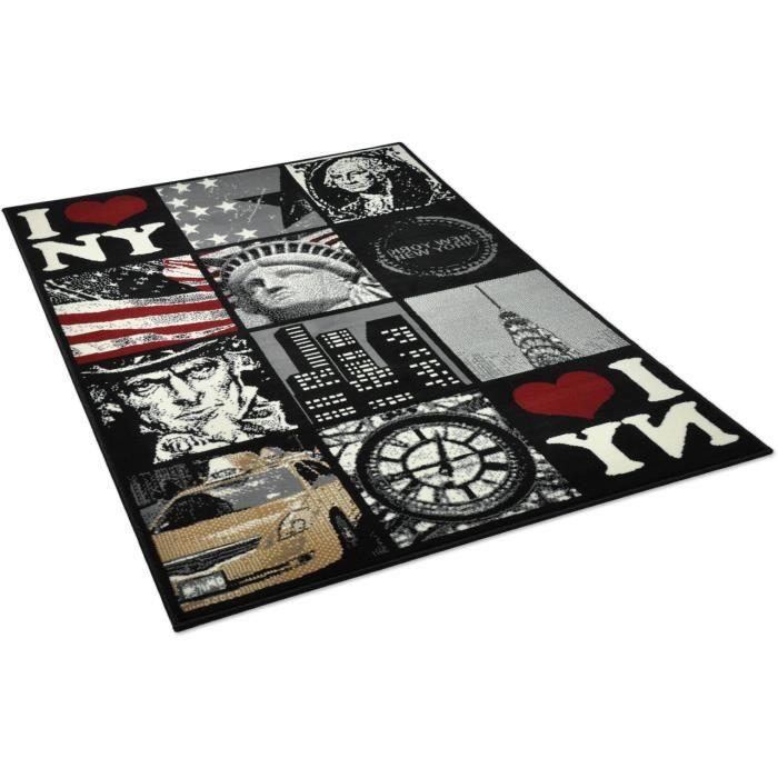 Tapis salon patchwork new york noir universol achat for Salon patchwork