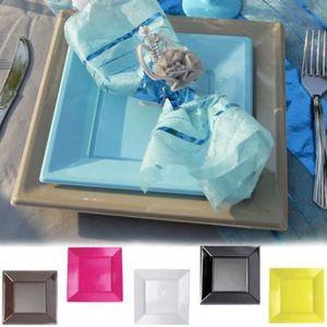 assiette jetable vaisselle jetable assiette plastique carr x12 - Vaisselle Colore Pas Cher