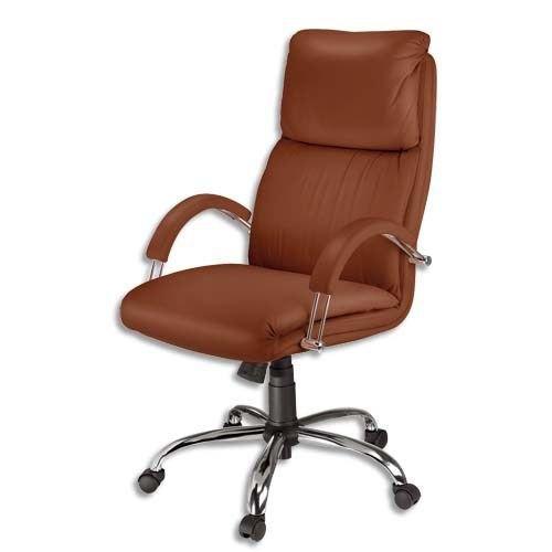 Fauteuil de direction cuir marron 63794 achat vente fauteuil cuir cadea - Fauteuil cuir marron ...