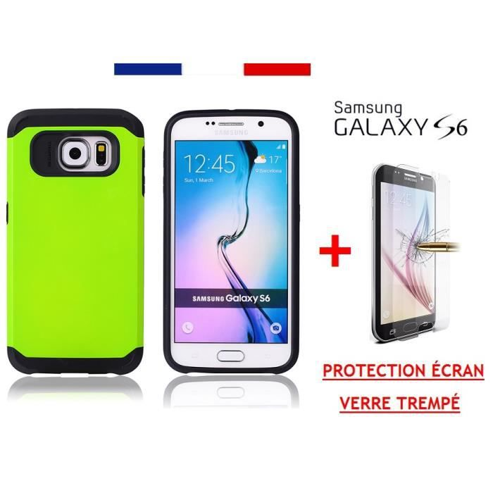 Coque semi rigide double couche prot ge cran verre for Samsung s6 photo ecran