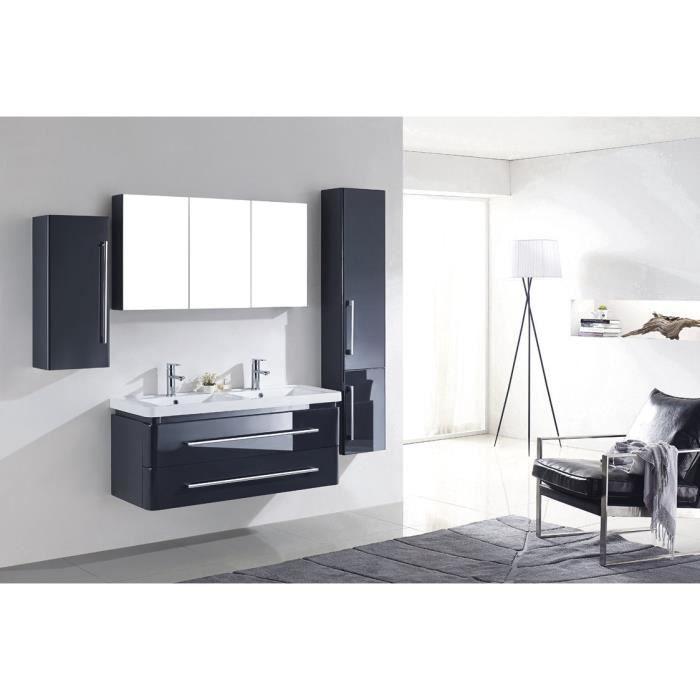 Meuble salle de bain gris bois massif 2 vasques achat for Ensemble sdb