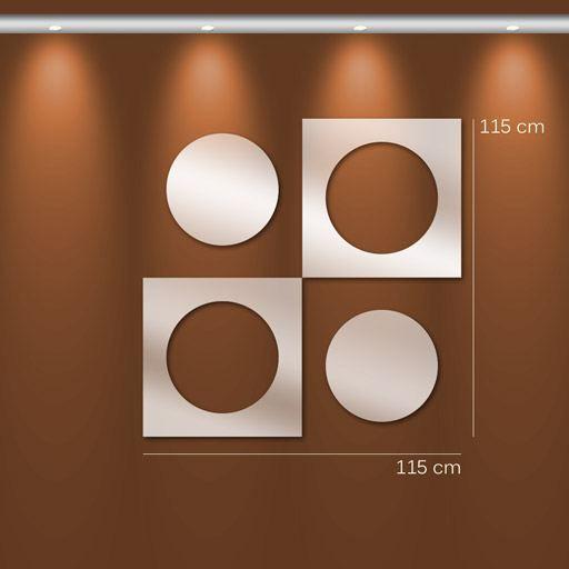 Miroir Design Rond Et Carre Imbrique 115 X 115 Achat