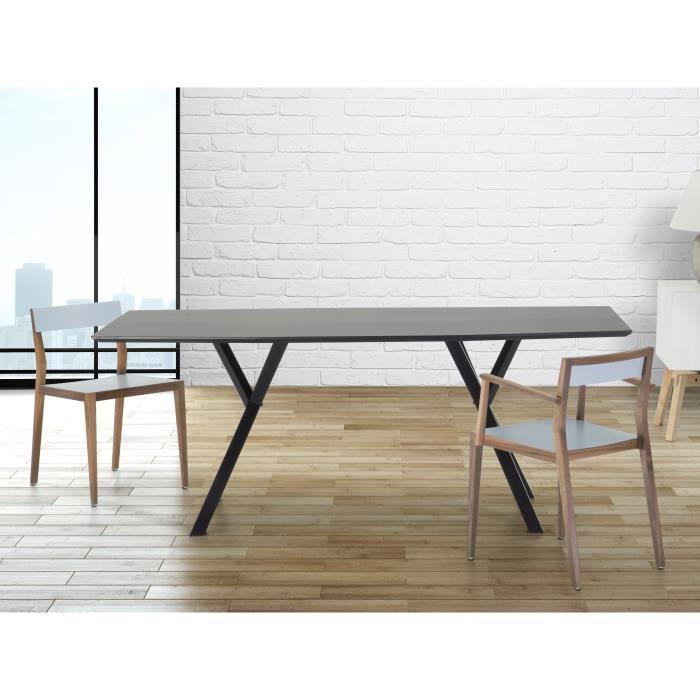 Table de salle manger table de cuisine noir lisala - Table de cuisine noire ...