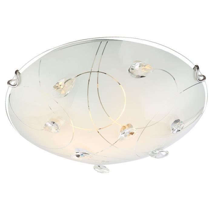 Plafonnier luminaire led 14 watts clairage cristaux verre for Luminaire sejour