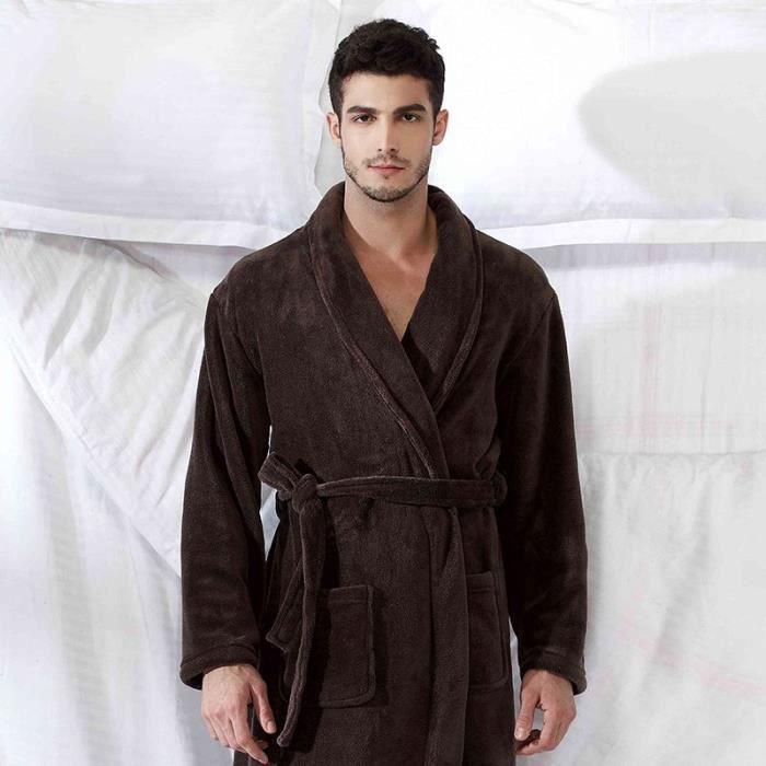Robe de chambre polaire homme marron fonc col ch le achat vente robe de chambre cdiscount - Achat robe de chambre homme ...