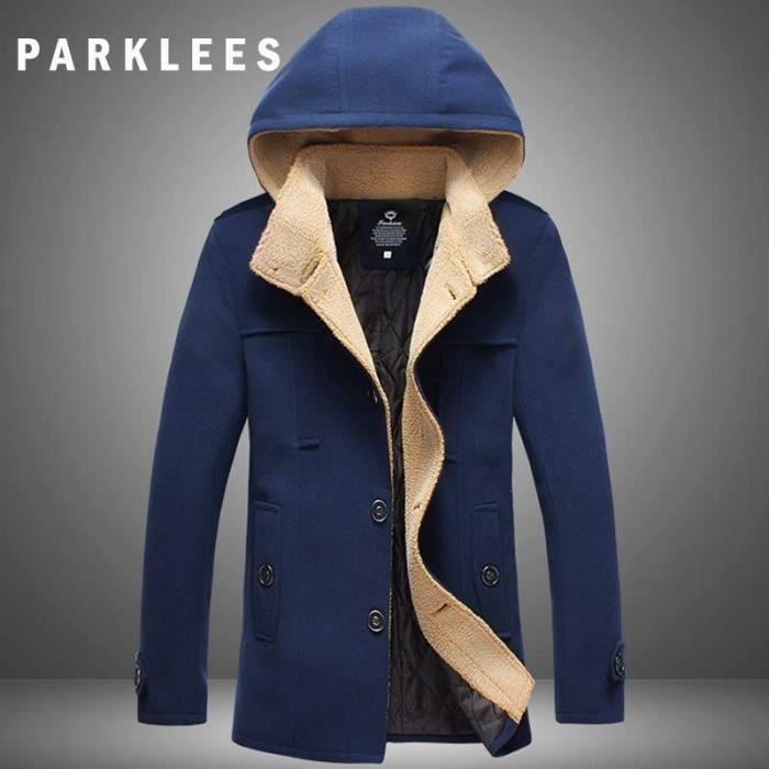 manteau homme capuche mode laine m langes trench coat. Black Bedroom Furniture Sets. Home Design Ideas