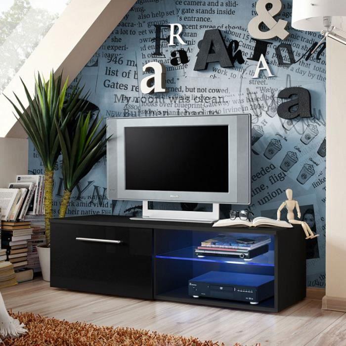 Paris prix meuble tv design bono iv 120cm noir achat for Prix meuble tv