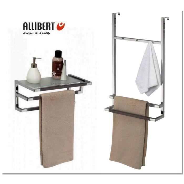 Allibert lot 2 portes serviettes s rie vogue acier achat for Porte serviette douche