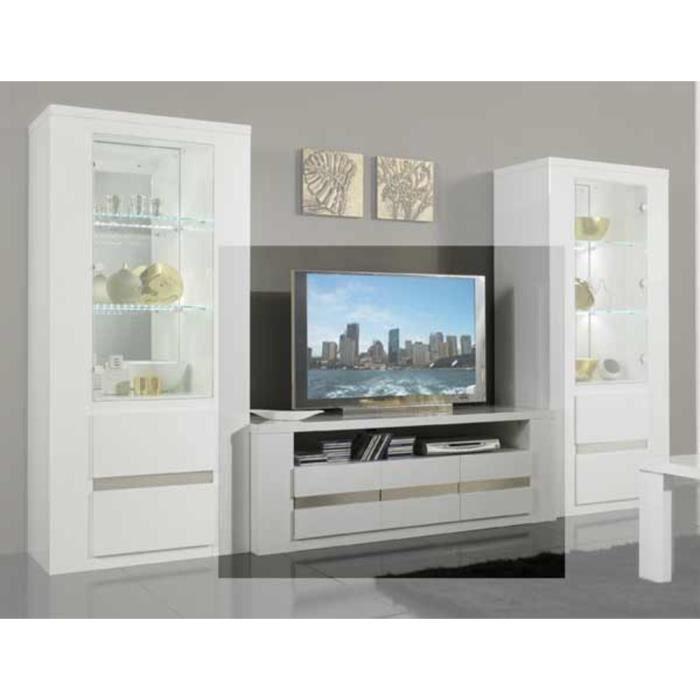 Meuble tv tania blanc laque achat vente meuble tv meuble tv tania blanc l - Meuble tv blanc cdiscount ...