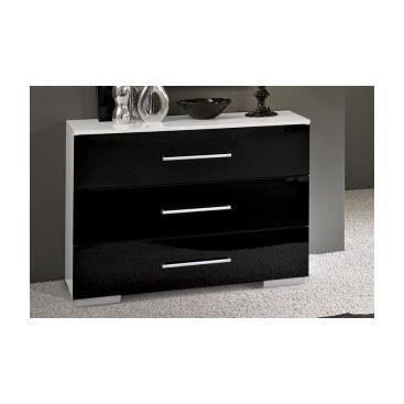 Meuble commode design de chambre laqu e noire et blanche malou achat vent - Commode noire laquee ...