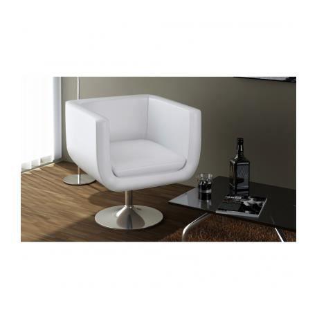 fauteuil design club blanc 63 x 56 cm achat vente fauteuil cuir acier chrom cdiscount. Black Bedroom Furniture Sets. Home Design Ideas