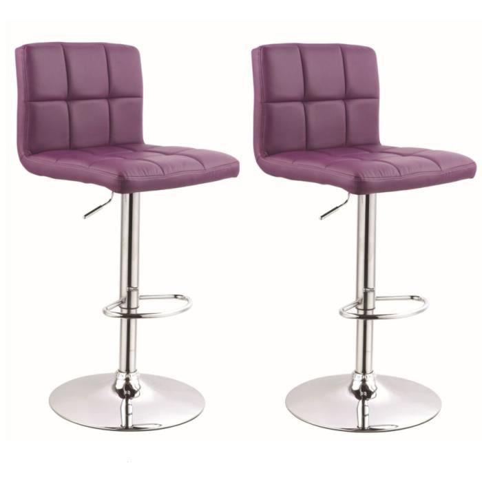 lot de 2 tabouret de bar achat vente tabouret de bar cuir m tal cdiscount. Black Bedroom Furniture Sets. Home Design Ideas