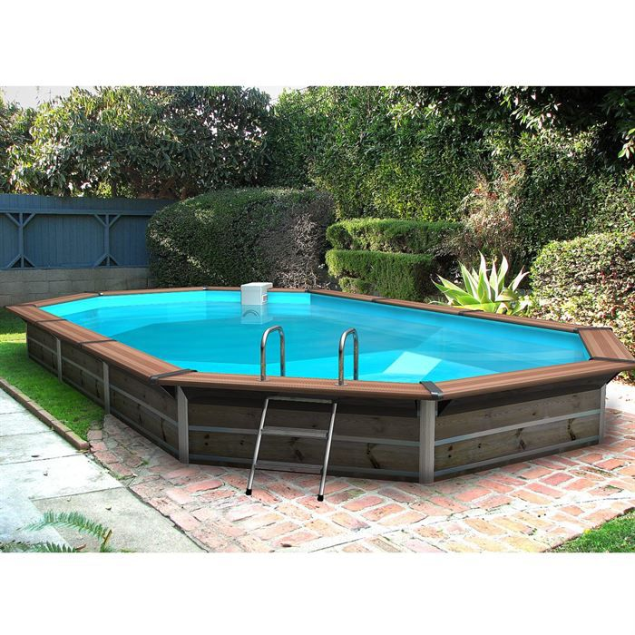 Piscine bois alu waterclip 680x370x129 optimum achat vente piscine piscine 680 x 370 x 129 for Piscine semi enterree bois