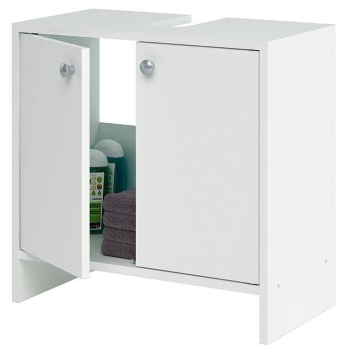 Meuble sous lavabo 2 portes coloris blanc l52 3 x h52 5 x for Meuble sous lavabo une porte