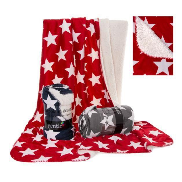 plaid stars 130 x 150 cm bleu marine achat vente couverture plaid cdiscount. Black Bedroom Furniture Sets. Home Design Ideas