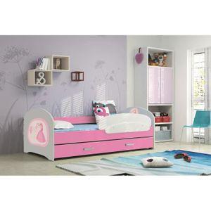 lucky 160x80 rose lit pour enfant avec rangement sommier matelas motif au choix achat vente. Black Bedroom Furniture Sets. Home Design Ideas