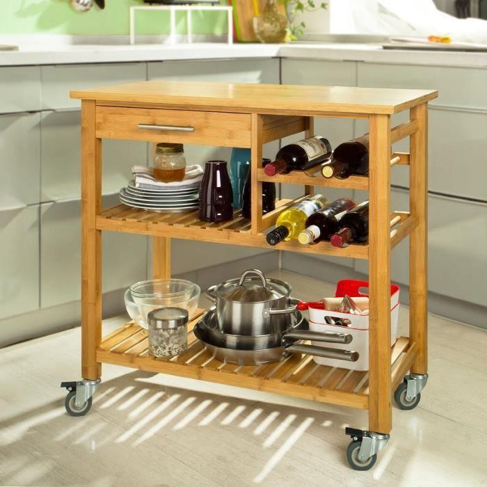 desserte de cuisine roulante bambou meuble de rangement roulettes chariot de service achat. Black Bedroom Furniture Sets. Home Design Ideas