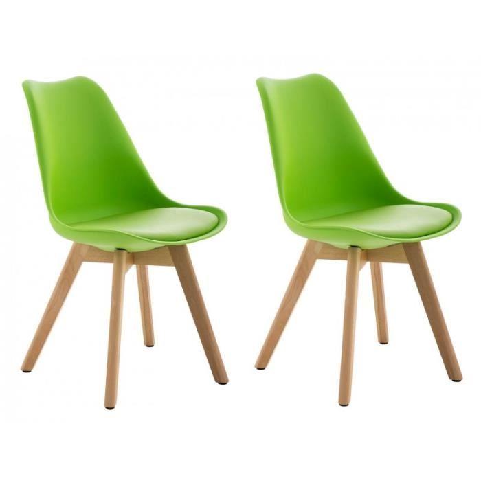 Lot de 2 chaises de salle manger scandinave pu vert for Chaise salle a manger scandinave
