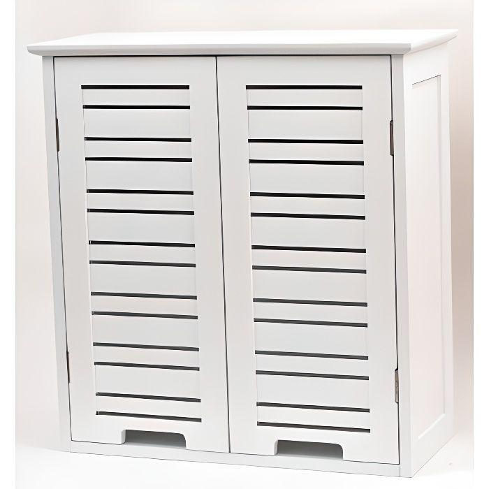 Element haut 2 portes blanc miami achat vente for Petit meuble haut salle de bain
