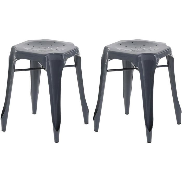 lot de 2 tabourets industriels m tal gris kirk achat vente tabouret soldes d hiver d s. Black Bedroom Furniture Sets. Home Design Ideas