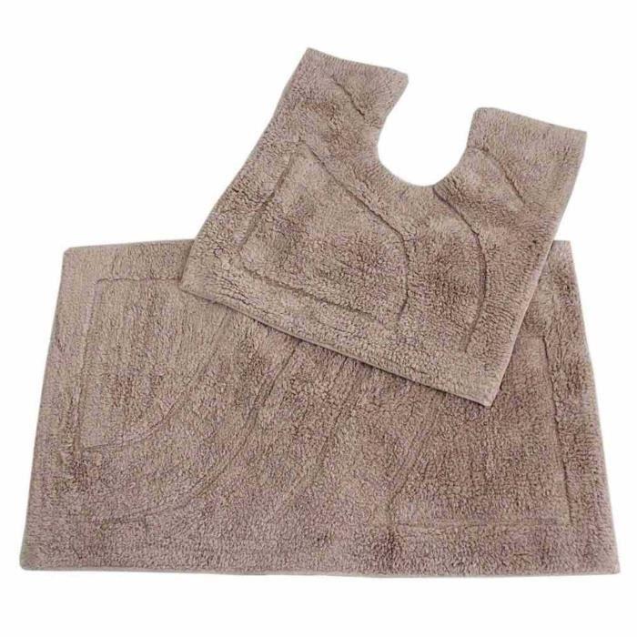 tapis de bain haut de gamme 2 pi ces beige achat vente tapis de bain 5055967428270 cdiscount. Black Bedroom Furniture Sets. Home Design Ideas