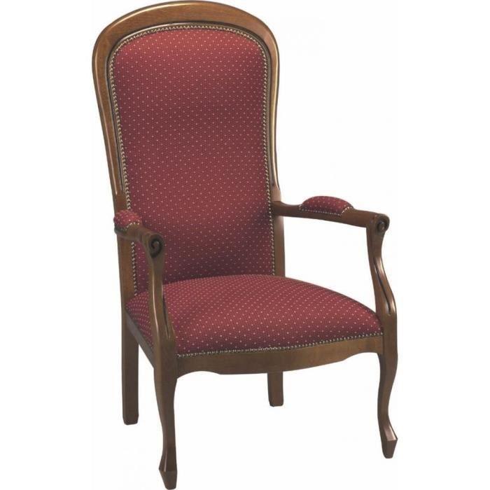 fauteuil voltaire merisier et tissu bordeaux mouchet beige achat vente fauteuil marron. Black Bedroom Furniture Sets. Home Design Ideas