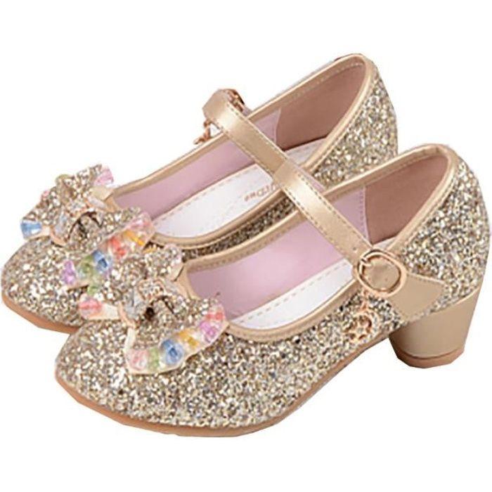 ballerines talon enfant filles chaussures princesse or pour d guisement soir e c r monie. Black Bedroom Furniture Sets. Home Design Ideas