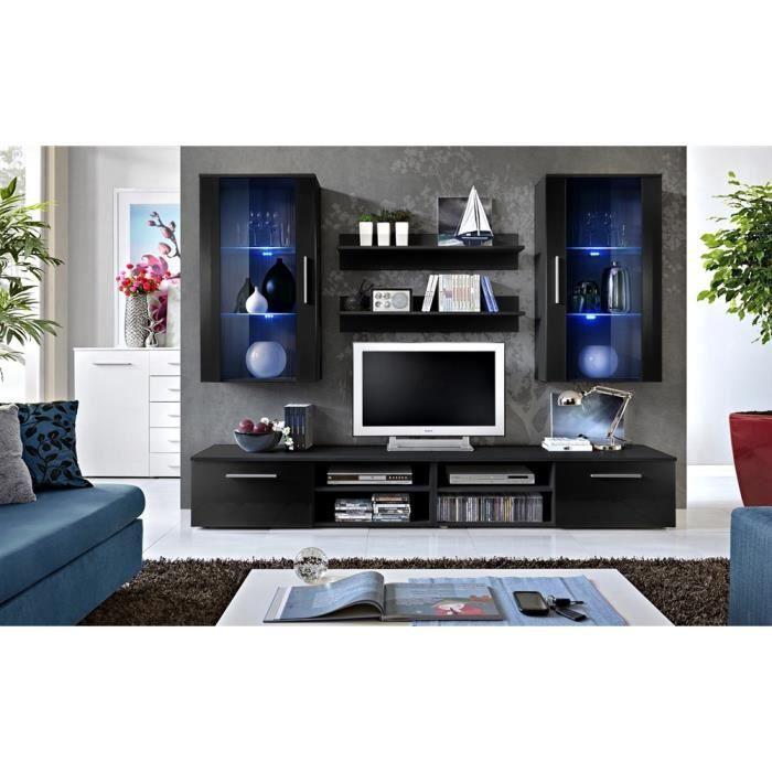 Meuble tv galino h noir noir laqu achat vente meuble for Meuble tv noir laque
