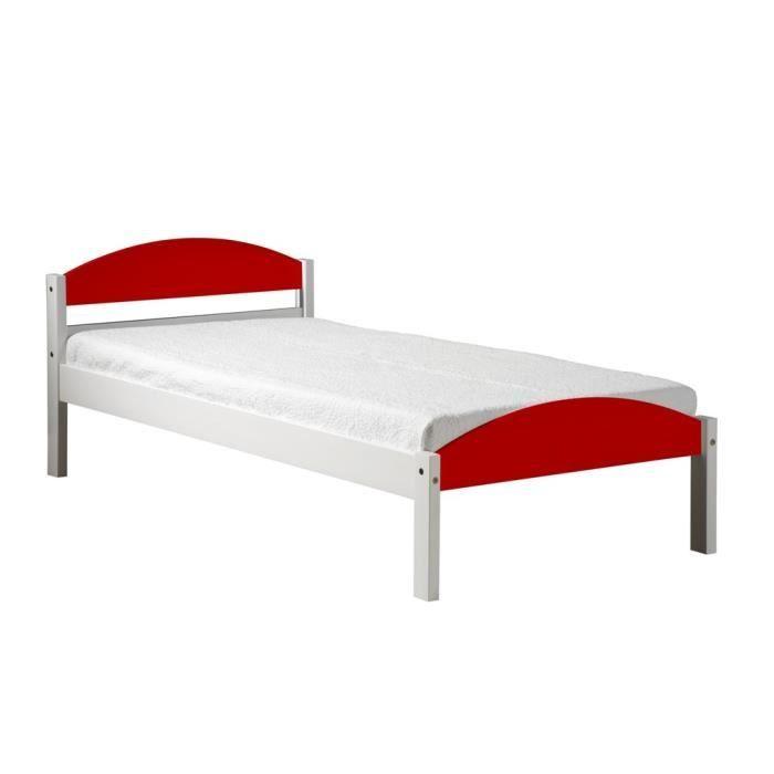 Cadre de lit maximus 90x190 blanc lasure rouge achat vente structure de l - Cadre de lit cdiscount ...