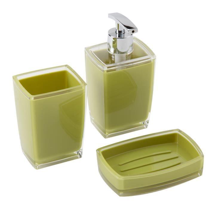 Set de 3 accessoires salle de bain plastique vert achat for Set porte savon