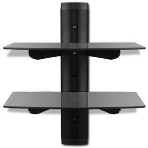Etagere verre trempe noir achat vente etagere verre - Tablette murale pour tv ...