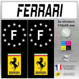 STICKERS 2x Stickers Plaques D'immatriculation Fond Noir 'F