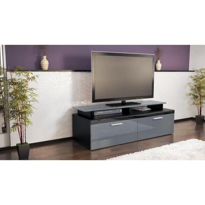 Meuble tv bas noir et gris laqu 140 cm achat vente for Meuble tv bas gris