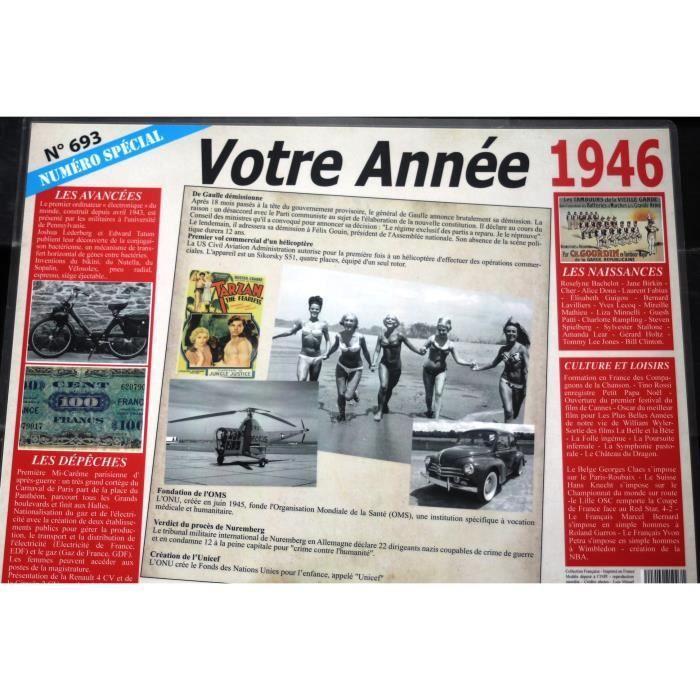 Set De Table Votre Annee De Naissance 1946 Achat